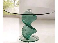 Designer Italian glass swirl dining table with 4 chairs