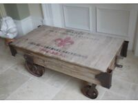 Wooden reclaimed wood coffee table railway style NEW