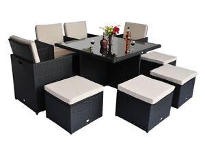 Set patio exterieur table diner 9pcs coussins sofa