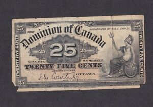 Un billet de 25 cents Dominion of Canada de 1900