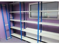 Link51 Used Quality Industrial Metal Shelving Like New 8 bays. Blue Uprights & Light Grey Shelves