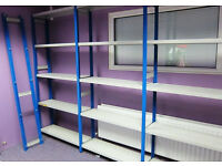 Link 51 Used High Quality Industrial Metal Shelving Like New 8 bays in one run.