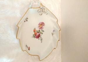 Royal Copenhagen Saxon Flower Leaf Dish signed hand painted
