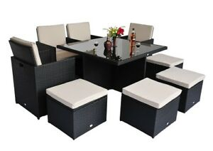Set patio exterieur table diner 9pcs coussins sofa