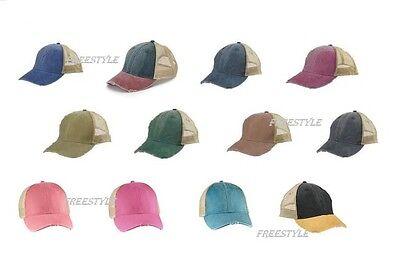 OL102 Adams Ollie Cotton/Mesh back Hats Pigment-dyed Distressed torn visor Cap - Torn Visor