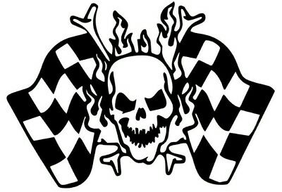 Checkered Flag (Skull racing checkered flag vinyl ford sticker car decal)