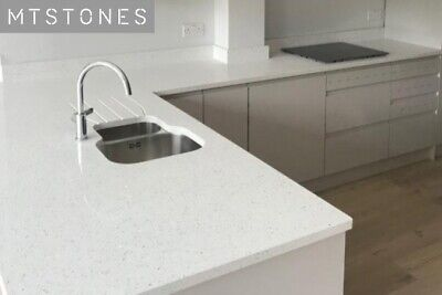 WHITE SPARKLE KITCHEN WORKTOP QUARTZ SAMPLE I QUARTZ WORKTOP I ALL COLOURS