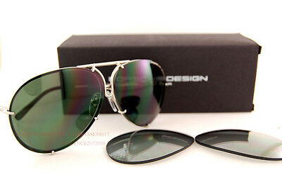 d7d64ee79d New Porsche Design Sunglasses P8478 8478 B Silver Interchangeable Lenses SZ  63