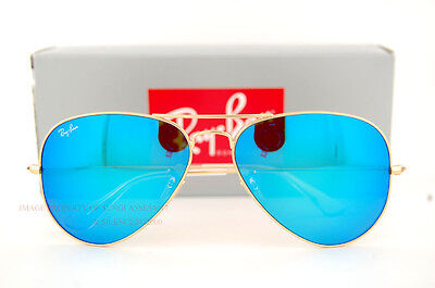 New Ray-Ban Aviator Sunglasses RB 3025 112/17 MATTE GOLD G-15 BLUE MIRROR SZ 55 on Rummage