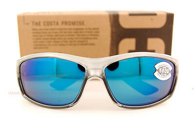 New Costa Del Mar Fishing Sunglasses SALTBREAK Silver Blue Mirror 580G POLARIZED
