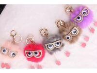 Pom Pom with glasses key ring or bag charm
