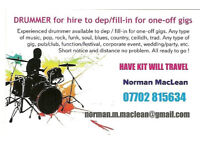 DRUMMER AVAILABLE to dep/fill in for one-off gigs