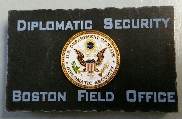 Diplomatic Security Boston Field Office w State Dept DSS Emblem Marble Desk