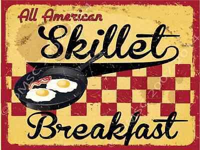 Restaurant Decor - All American Skillet Breakfast Metal Sign, Retro Cafe, Restaurant, Kitchen Decor