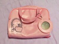 Makeup bag cosmetic bag wash bag pink girls ladies with mirror