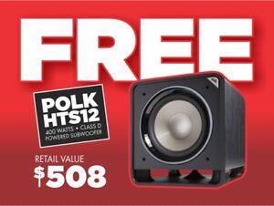 FREE • 12 INCH POLK HTS12 POWERED SUBWOOFER • WORTH $508 • FREE