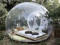 Ikea table, Chair, Microwave Oven, Light, Inflatable Bubble Camping Tent with blower