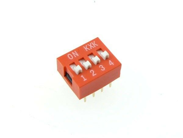 "4 Position DIP Switch 2.54mm 0.1"" Pitch - Pack of 5"