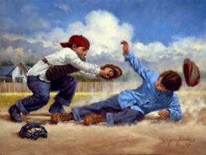 Home Safe by Jim Daly Kid Children Baseball Americana Print Poster 11x14