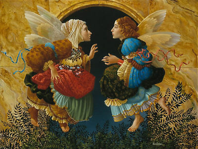 James Christensen Two Angel Discussing Botticelli Rare Paper 2469/2950 Mint COA