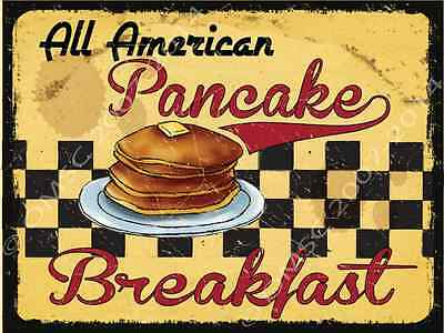 Restaurant Decor - All American Pancake Breakfast Metal Sign, Retro Cafe, Restaurant, Kitchen Decor