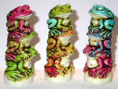 Harmony Kingdom Artist Neil Eyre Designs 3 evils frog stack LE 25 Vibrant Colors