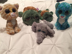 5 peluches TY RUSS (toutous gros yeux)