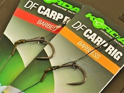 Korda NEW DF Rig Ready Pre Tied Carp Fishing Hair Rigs x3 *All Sizes & Types*