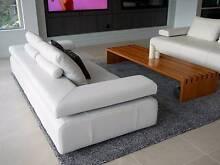 Two King Furniture Strata 3 Seater Sofas in Malamu white leather. Mosman Mosman Area Preview