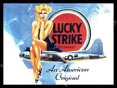 Lucky Strike Metal Sign, Vintage Pinup Girl, US Air Force, Military, Airplanes Vintage Metal Airplane Sign