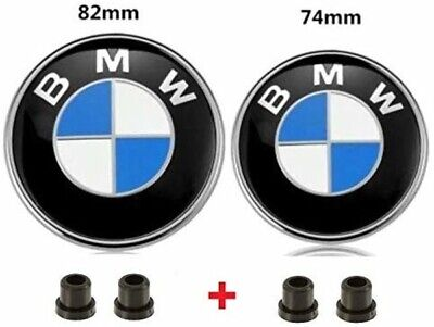 BMW Emblems Hood/Trunk, BMW 82mm 74mm Logo Replacement + 2 Grommets for ALL Mode