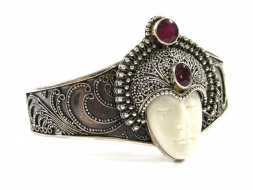 Vintage Sajen Sterling Silver Cuff Bracelet with Stone Face and Red Garnet Accen