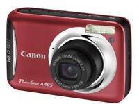 Canon PowerShot A495 Digital Camera - Red Case Colour - As New
