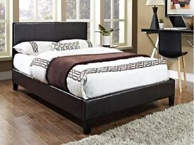 """SPECIAL OFFER"" DOUBLE LEATHER BED FRAME WITH ORTHOPAEDIC MATTRESS BLACK - BROWN"