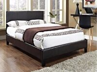"""""""SPECIAL OFFER"""" DOUBLE LEATHER BED FRAME WITH ORTHOPAEDIC MATTRESS BLACK - BROWN"""