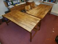 Pair executive desks, hand made, 1960's, natural walnut finish, Glasgow