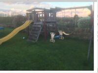 Wooden slide and swing set