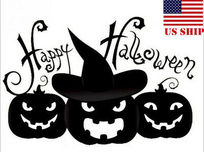 US!Happy Halloween Smiling Pumpkin Wall Sticker Removable Decals Home Decor Gift - Halloween Wall Decorations