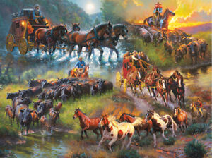 New sealed 1000 piece Sunsout  jigsaw puzzle cattle cowboy