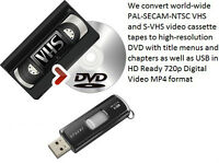 We professionally convert VHS to DVD and/or USB - best rates