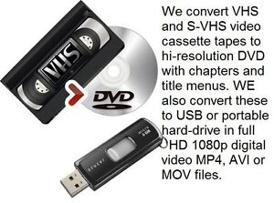 We professionally convert VHS & S-VHS tapes to DVD & Digital