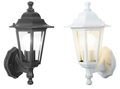 Outdoor Wall Lantern Outside Light Security Black or White 6 Sided Exterior Lamp