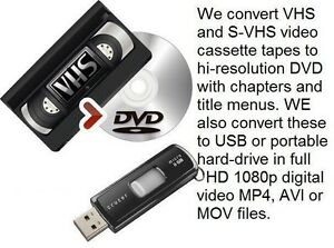 We convert VHS video tapes to DVD & USB