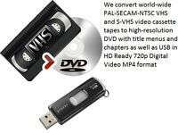 We professionally convert VHS to DVD & USB