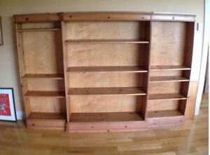 Large Antique Bookcase - REDUCED - Solid Wood Wall Unit