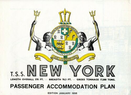 Greek Line T.S.S. NEW YORK Color-Coded Deck Plan from 1956 - First & Tourist