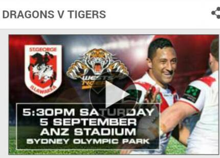 2 Tickets For Tomorrow St George vs West Tigers Parramatta Area Preview