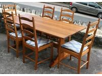 ERCOL SOLID PINE REFECTORY TABLE AND 6 CHAIRS