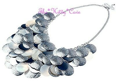 Big Ethnic Layered MOP Shell Silver Disc Waterfall Statement Bib Choker Necklace