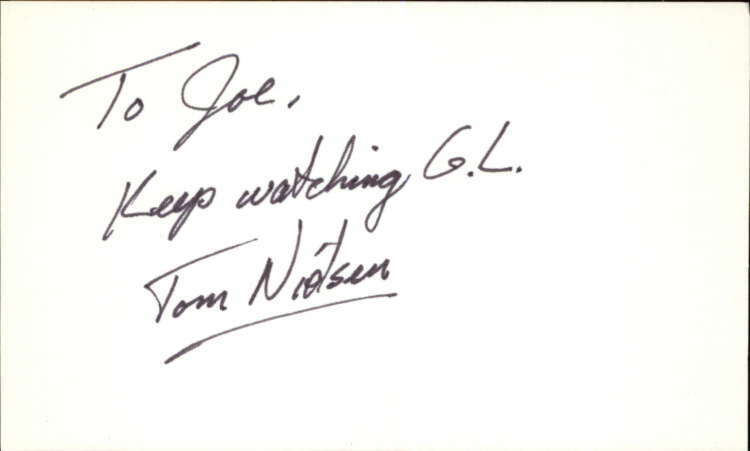 "TOM NIELSEN GUIDING LIGHT Signed 3""x5"" Index Card"